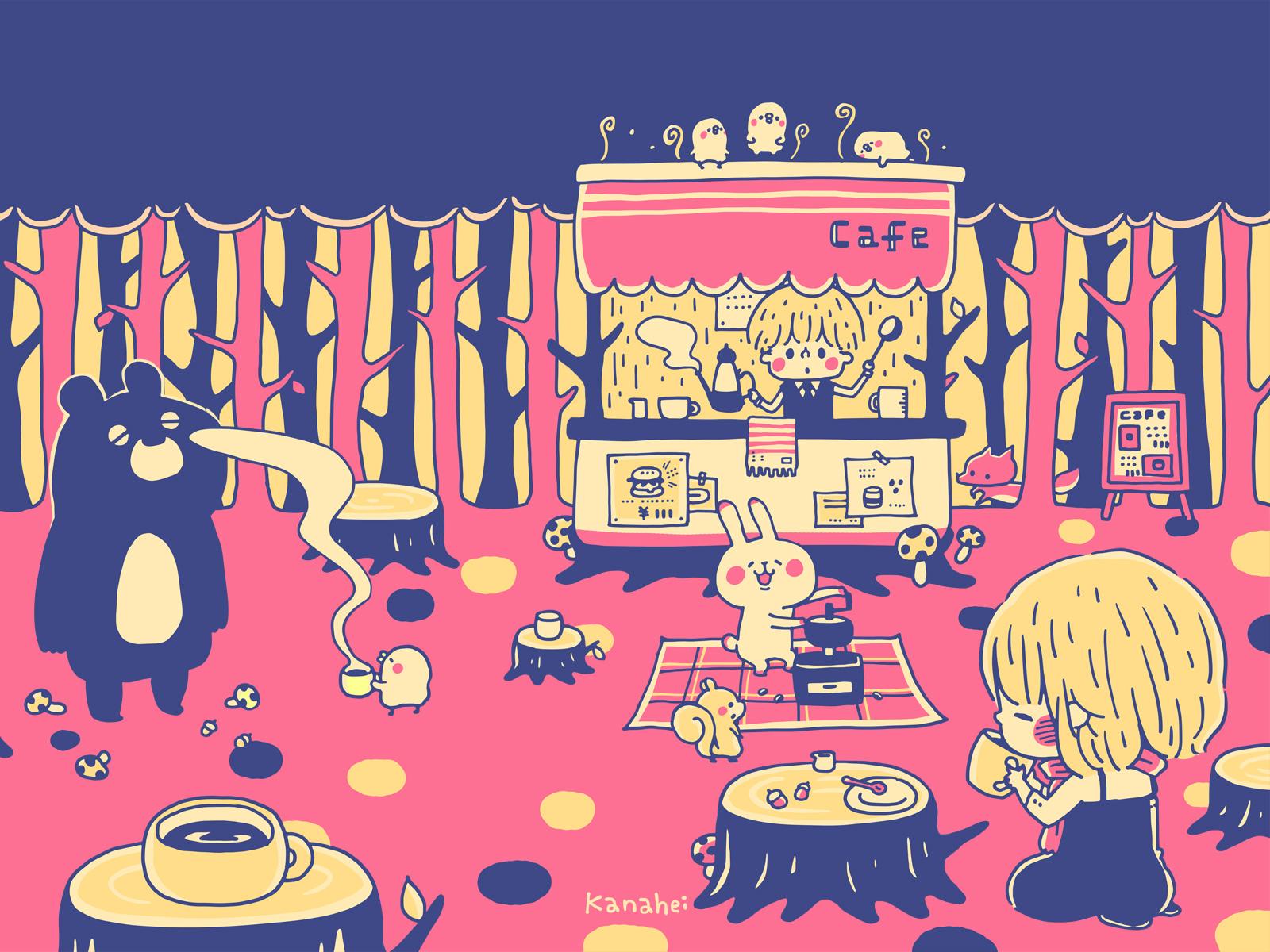 森カフェ3 カナヘイの隠れ家 : かわいいカレンダー : カレンダー