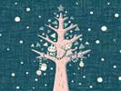 雪とツリーとぼくたち2■カナヘイの無料壁紙
