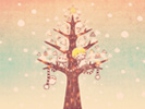 雪とツリーとぼくたち3■カナヘイの無料壁紙