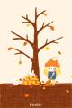 落ち葉のおふとん(あるいは落ち葉焚き)■illust_カナヘイ